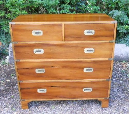 Yew Military Style Chest of Drawers